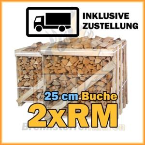 2 Raummeter Kisten Brennholz 25 cm mit Lieferung