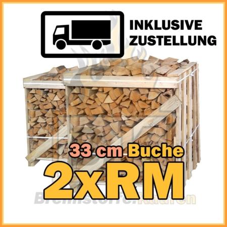 2 x Raummeter Brennholz Kisten 33 cm mit Lieferung