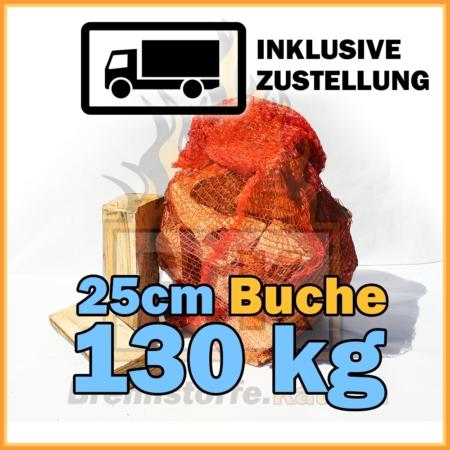 130 kg Brennholz 25 cm Netzsäcke