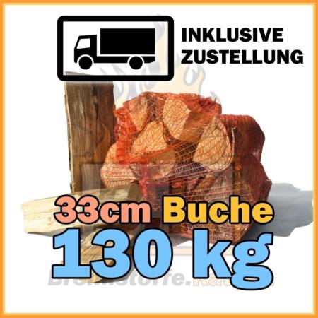 130 kg Brennholz 33 cm Netzsäcke