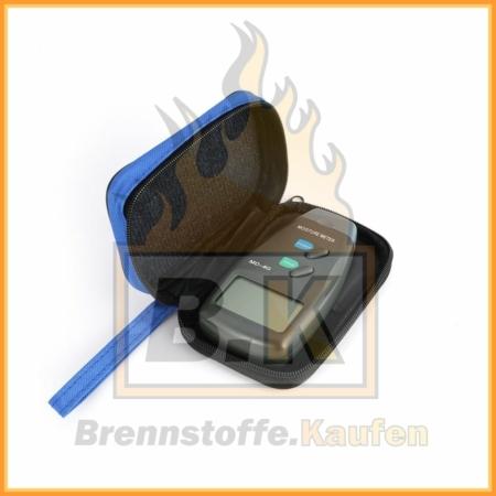 Feuchtigkeitsmessgerät für Holz mit blauer Tasche