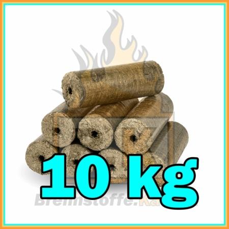 Holzbriketts dunkel mit Loch - Einzelpaket 10 kg - Hartholzbriketts