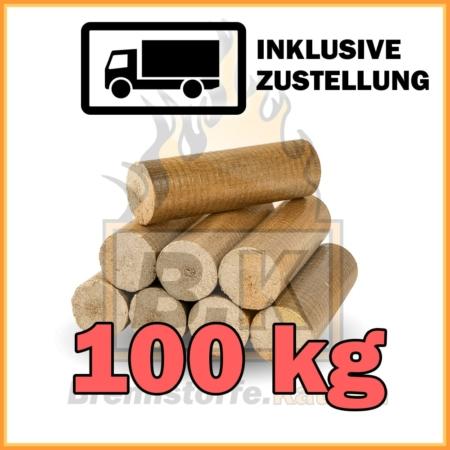 100 kg Buchenholzbriketts ohne Loch mit Lieferung