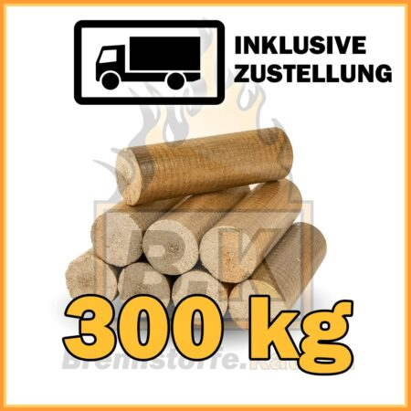 300 kg Buchenholzbriketts ohne Loch mit Lieferung