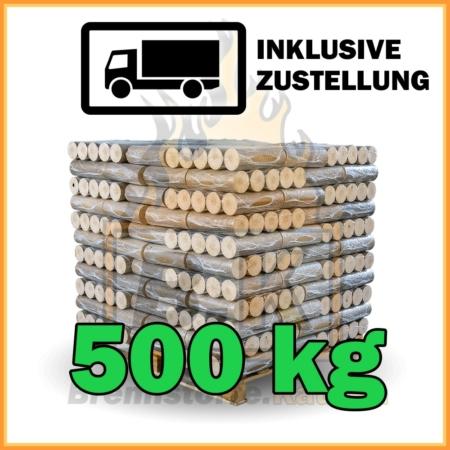 500 kg Buchenholzbriketts ohne Loch mit Lieferung