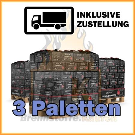 3 Paletten Union Briketts - Kaminbriketts mit Lieferung
