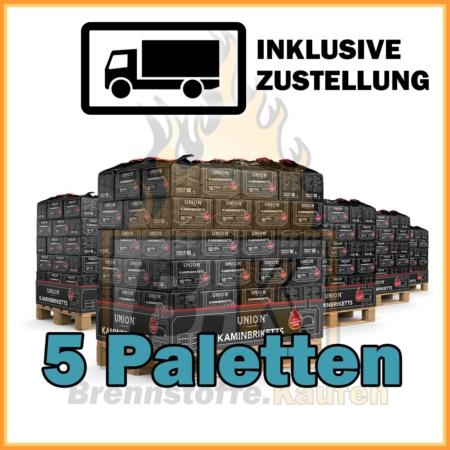 5 Paletten Union Briketts - Kaminbriketts mit Lieferung