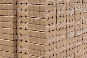 Buchenholzbriketts sicher in Plastikfolie verpackt