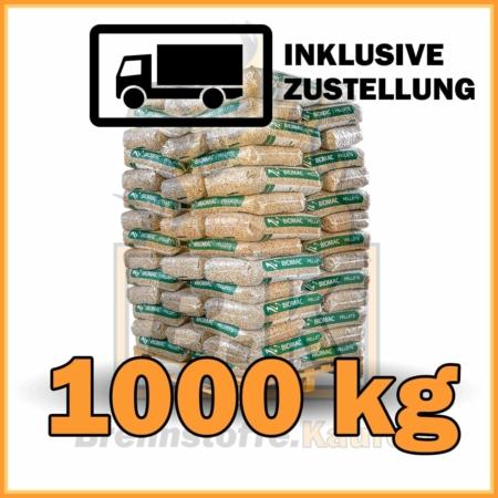 1000 kg Biomac Pellets 15 kg Sackware mit Lieferung - 100% Fichtenholz
