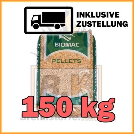 150 kg Biomac Pellets 15 kg Sackware mit Lieferung - 100% Fichtenholz