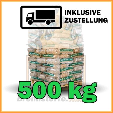 500 kg Biomac Pellets 15 kg Sackware mit Lieferung - 100% Fichtenholz