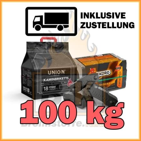 100 kg Union oder Rekord Kaminbriketts Braunkohle mit Lieferung