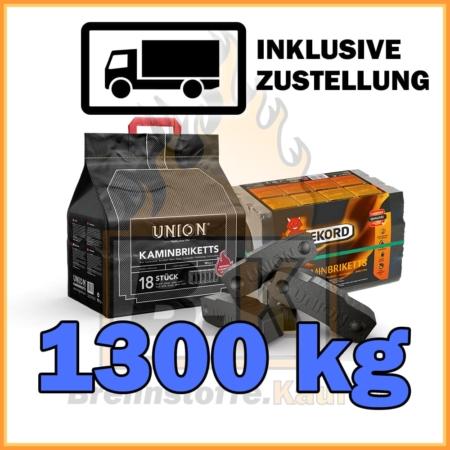 1300 kg Union oder Rekord Kaminbriketts Braunkohle mit Lieferung