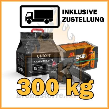 300 kg Union oder Rekord Kaminbriketts Braunkohle mit Lieferung