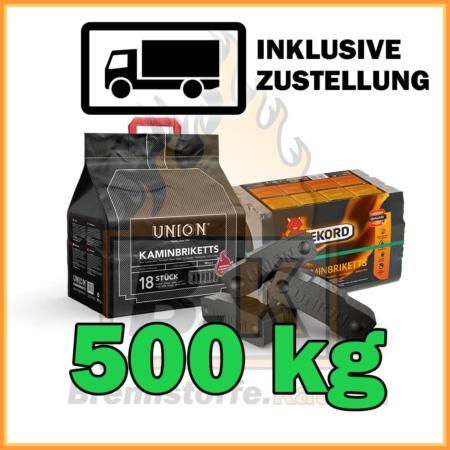 500 kg Union oder Rekord Kaminbriketts Braunkohle mit Lieferung